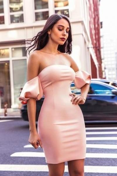 Light Pink Off Shoulder Puffy Sleeve Homecoming Dress
