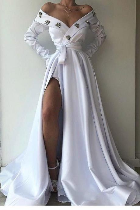 White i Off Shoulder Long Prom Dress With Split