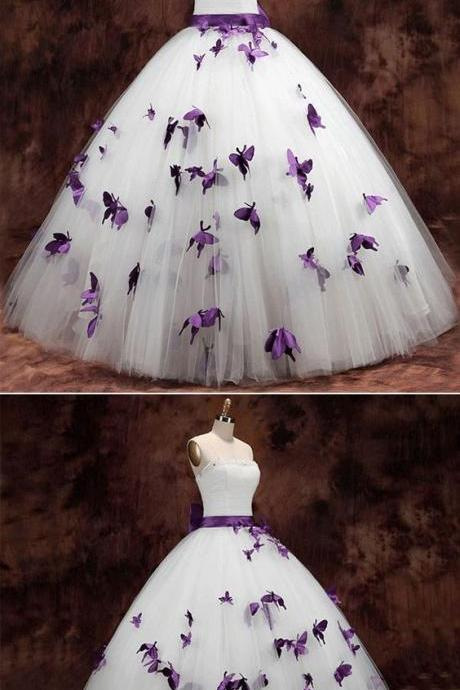 Strapless Butterfly Ball Gown Wedding Dress