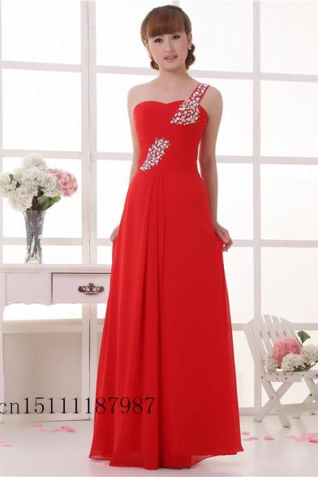 new red shoulder evening dress fashion bridesmaid dress wedding bride head correction sisters toast clothing
