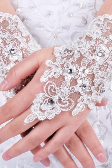 2016 new women's Exquisite Fingerless Rhinestone Bridal Gloves Lovey Prom Gloves