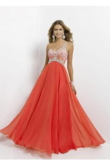 A-line One Shoulder Sleeveless Chiffon Prom Dresses With Beaded ,bridesmaid dresses Bridal Gowns Sleeve prom gowns