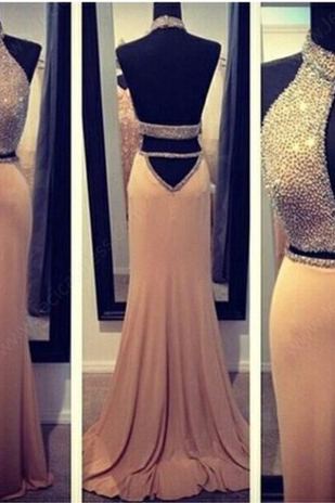 Sexy Prom Dress,Beading Prom Dress,Halter Prom Dress,Mermaid Prom Dress,Backless Prom Dress