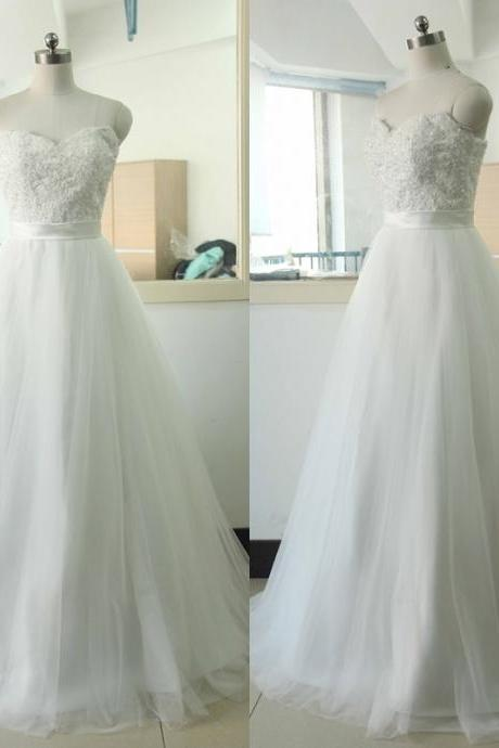 Sweetheart-neck Lace Wedding dress Ivory A-line Tulle Wedding dress Ivory Sleeveless A-line Lace Wedding