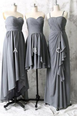 ong bridesmaid dress, grey bridesmaid dress, mismatched bridesmaid dress, dress for bridesmaid, chiffon bridesmaid dress, cheap prom dress
