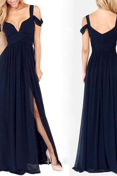 long bridesmaid dress, navy blue bridesmaid dress, popular bridesmaid dress, chiffon bridesmaid dress, affordable bridesmaid dress,