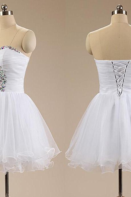 Elegant White Short Homecoming Dresses 2015 Sexy Prom Dresse Sweetheart Homecoming Dresses Crystals Girls Homecoming Party Dresses