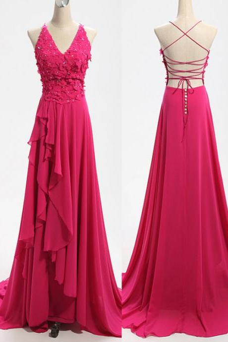 Sexy V-Neck Prom Dress Backless Evening Dress Elegant A-Line Evening Dress Chiffon Appliques Evening Dress