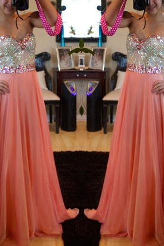 Real Custom Sequins Prom Dress 2015, Beading Evening Gowns, Chiffon Floor Length Prom Dress, Elegant Prom Dresses, Evening Dresses