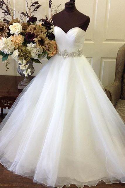 Sweetheart Organza Princess Bridal Wedding Dresses Ball Gowns 2016