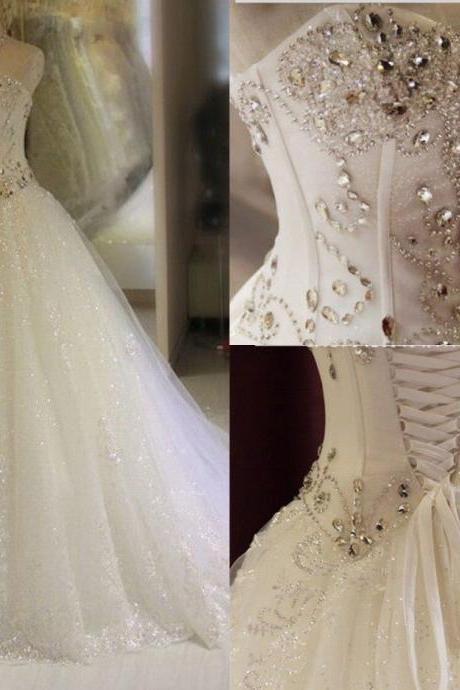 Elegance White/Ivory Wedding Dress Bridal Gown Custom