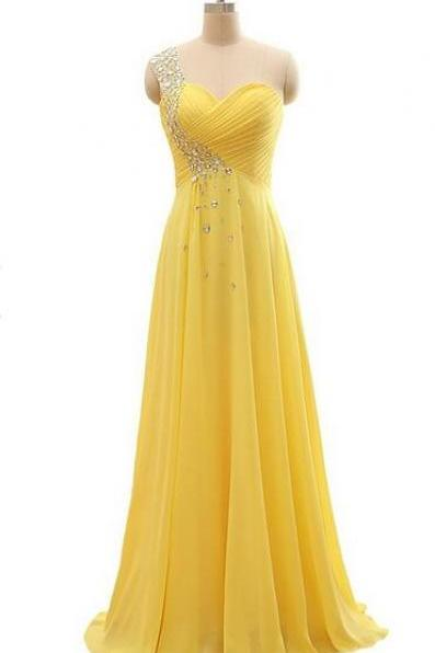 Elegant One Shoulder Yellow Chiffon Beaded Pleat Long Party Dress,Bridesmaid Dresses