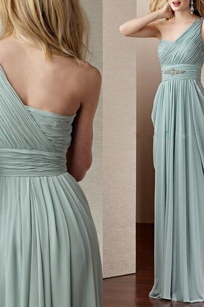 One shoulder bridesmaid dress, long bridesmaid dress, chiffon bridesmaid dress, cheap bridesmaid dress, simple prom dress, on sale bridesmaid dress, occasion dress