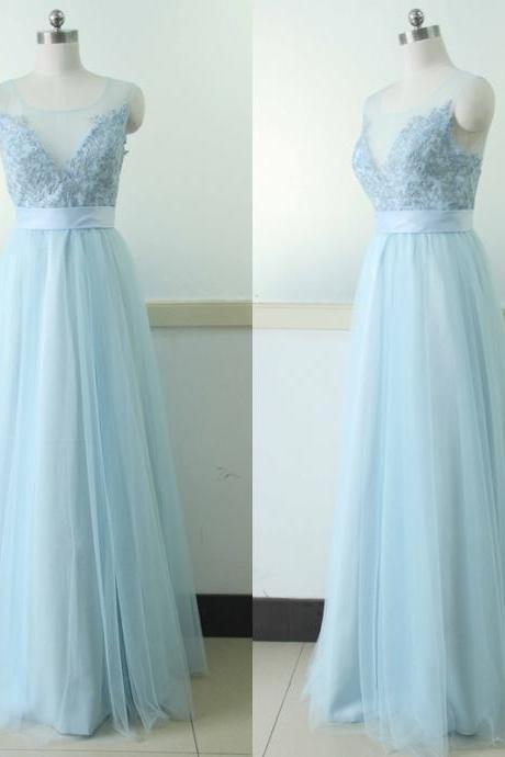 Sleeveless Tulle Party Dress Light Blue Lace Bridesmaid Prom dress Custom A-line Wedding Party Gown Sexy Sky Blue Cocktail Lace Gowns