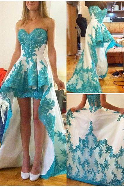 2016 Newest Short Front Long Back Lace Prom Dresses,Sweetheart Prom Dresses,Beautiful Prom Dress For Teens