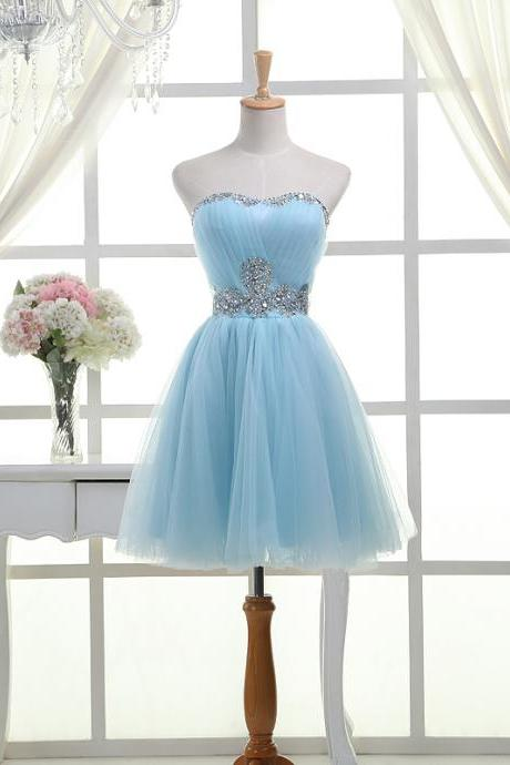 2016 Hot Selling Light Sky Blue Strapless Homecoming Dresses,Short Beading Homecoming Dress,Modest Cocktail Dresses,Graduation Dresses