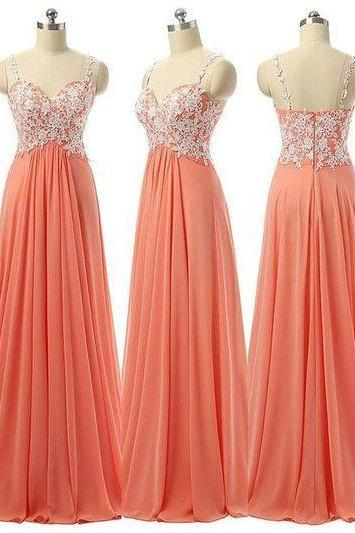 Beauty Long Chiffon Prom Dresses,Charming Prom Dress,High Low Prom Gowns,Lace Prom Dresses,With Straps