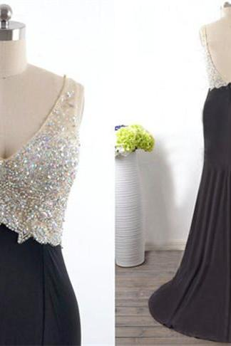 Charming Prom Dress,V-Neck Prom Dress,A-Line Prom Dress,Beading Prom Dress,Prom Dresses, Backless Real Made Prom Dresses On Sale,