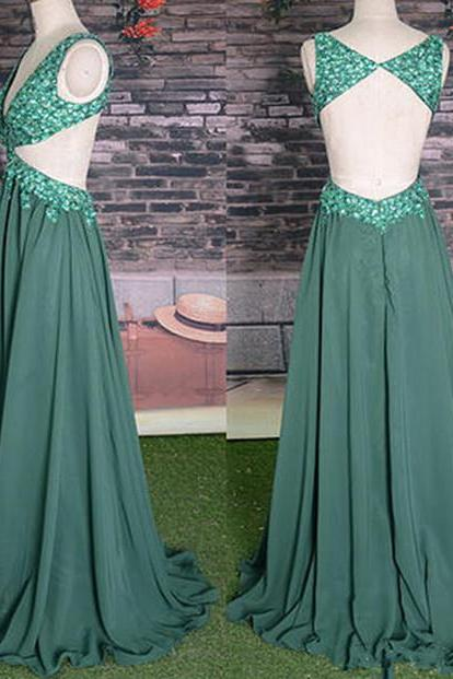 Deep V-Neck Charming Prom Dresses,The Backless Floor-Length Evening Dresses, Prom Dresses, Real Made Prom Dresses On Sale,