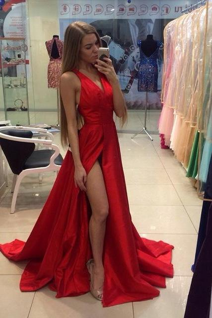Real Sexy Cheap Front Split Prom Dresses,Simple Long Party Dresses,Deep V-neck Evening Dresses,Custom Made Prom Dress