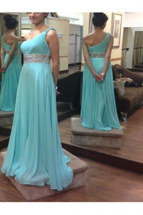 2016 Ome Shoulder Prom Dresses,Charming Prom Dress,Chiffon Prom Gowns,Cheap Evening Dresses,High Low Party Prom Dresses