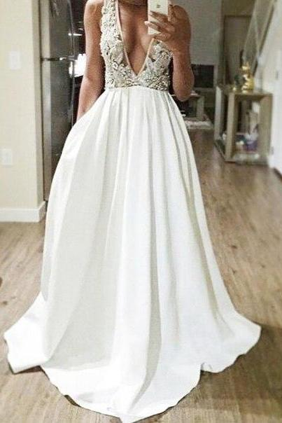 Deep V-neck Long Prom Dresses,White Lace Prom Dress,A-line Evening Dresses,Formal Prom Gowns,Cheap Party Prom Dresses