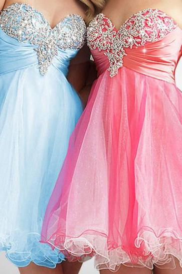 Tulle and Beading Homecoming Dresses, Short/Mini Graduation Dresses,The Charming Sweetheart Homecoming Dresses,Homecoming Dress