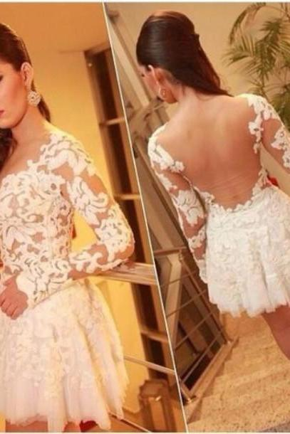 The Charming Lace and Appliques Short Graduation Dresses,Long-Sleeve Graduation Dresses,Homecoming Dresses, Homecoming Dresses On Sale,