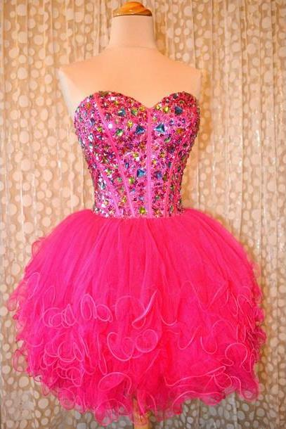 New Arrival Short Beading Homecoming Dresses,Beauty Party Dresses, Sweetheart Real Made Homecoming Dresses, Real Made Graduation Dresses