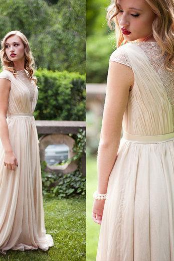 High-Neck Long Prom Dresses,Short-Sleeve Prom Dresses,Charming Prom Dresses, Chiffon Prom Dresses