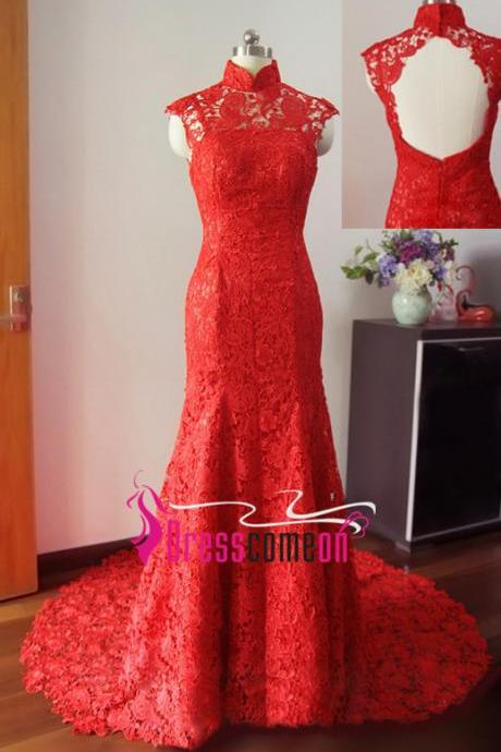 High-Neck Red Backless Prom Dresses,Sexy Long Prom Dresses, Dresses For Prom,Evening Dresses, Mermaid Prom Dresses