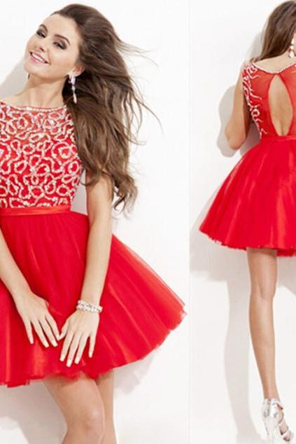 Pretty Graduation Dresses, Knee-Length Graduation Dresses, O-Neck Graduation Dresses, Red Chiffon Graduation Dress, Tulle Graduation Dresses,