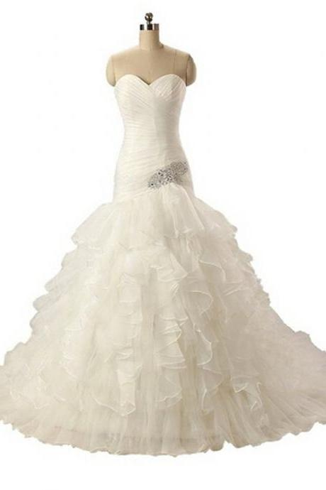 Youthful Sweetheart Ruffle Organza Beading Ball Gown Wedding Dress