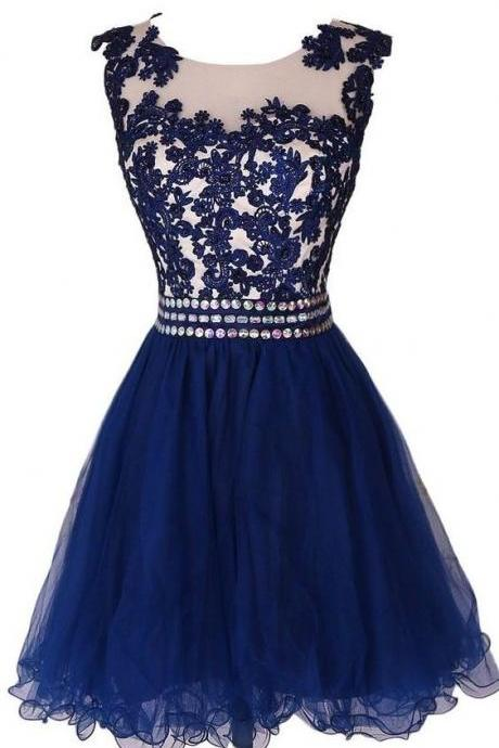 Custom-Made A-Line Scoop Knee-Length Hollow Prom Dresses Lace Applique Sash Beaded Homecoming Dresses 2016