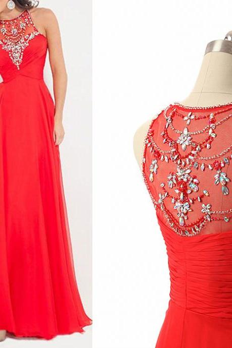 Red Prom Dress,Long Prom Dress,Beaded Prom Dress,Sequin Prom Dress,Women Party Dress,Long section chiffon dress