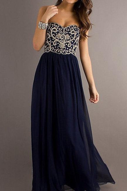A Line Navy Blue Embroidered Sewing beads Sweetheart Chiffon Floor Length Long Prom Dress, Long Evening Dresses, Formal Dresses ,Bridesmaid Dress