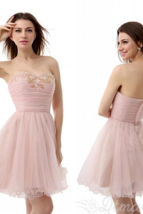 Best-selling Short Prom Dresses Evening Dress Beads Backless Organza Dress Party Dress Prom Dresses