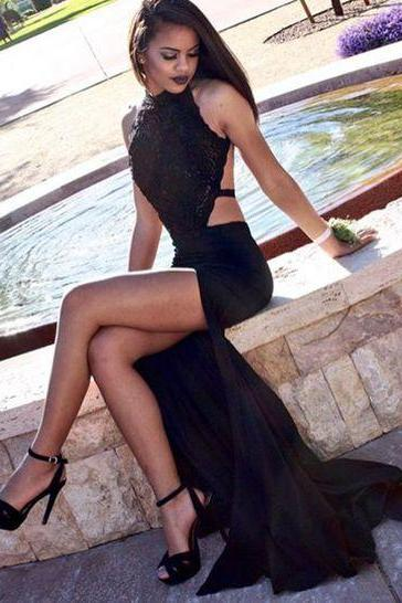 Black prom dress,A-line lace backless long prom dress,formal dresses