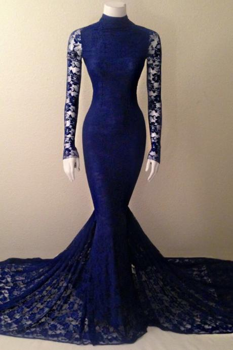 2016 Hot Navy Blue Lace High Neck Mermaid Evening Gown With Long Sleeves evening dress,lace prom dress,backless Evening Dresses,unique prom dresses,