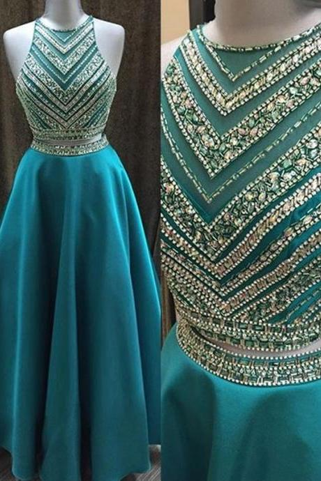 Blue Long Dresses,Two Piece Eveing Dress,A-Line Prom Dresses,Crew Neck Floor Length Beading Formal Dress