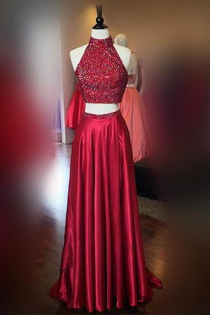 New Arrival Prom Dress,Modest Prom Dress,Halter Prom Dresses,Burgundy Prom Dresses,Long Prom Gowns 2017,two piece prom dresses