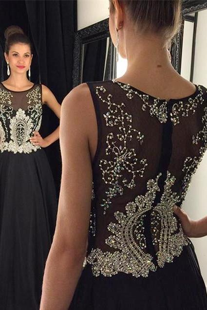 Black Prom Dresses,Backless Prom Dress,Sexy Prom Dress,Simple Prom Dresses,2017 Formal Gown,Beading Evening Gowns,Beaded Party Dress,Prom Gown For Teens