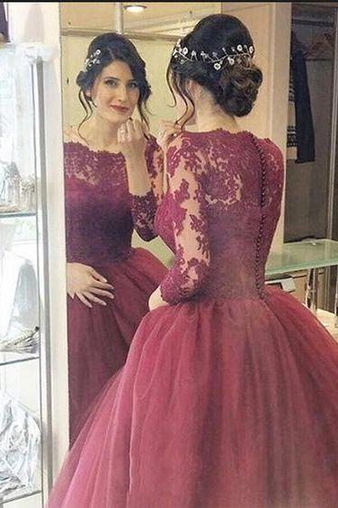 Lace Prom Dress,Long Sleeves Dress,Floor Length Party Dress,High Quality Prom Dresses