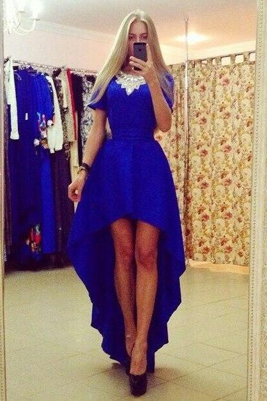 Prom Dress,Royal Blue Evening Dresses, Beading Prom Dresses, Hilo Party Dress, Long Formal Dress,Graduation Dresses