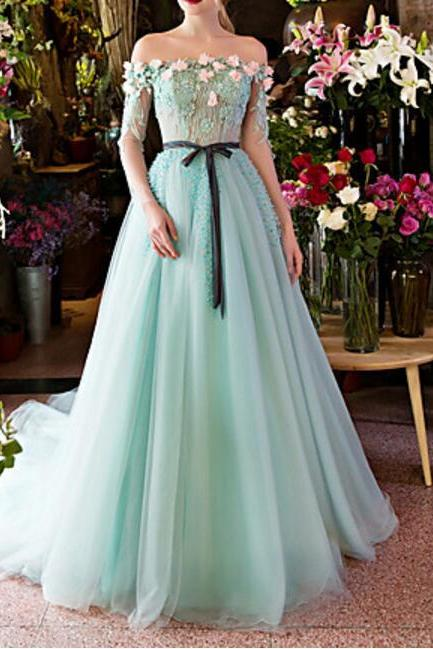 Tulle Beading / Crystal Detailing / Flower(s) / Lace Formal Evening Dress Ball Gown Off-the-shoulder Court Train Lace /
