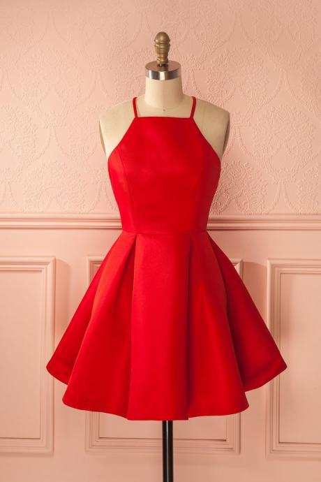 Red Prom Dress,Halter Prom Dress,Fashion Homecoming Dress,Sexy Party Dress,Custom Made Evening Dress