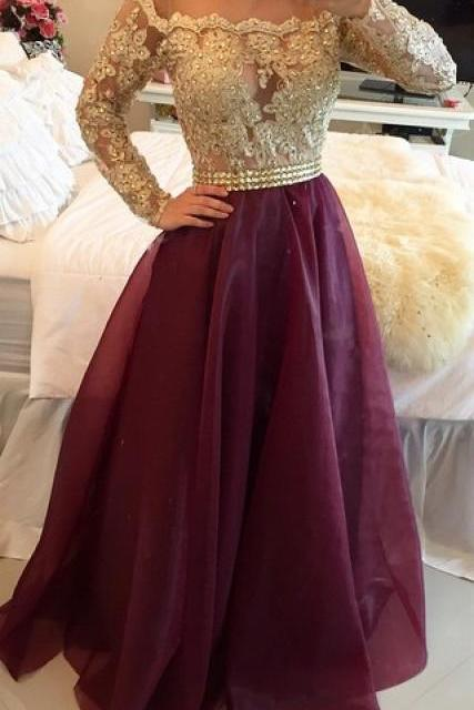 2017 Long Sleeves Prom Dresses Gold Illusion Lace Beaded Burgundy A-line Gorgeous Evening Gowns