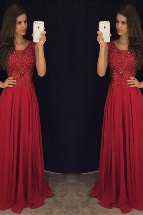 2016 Modest Red Long Prom Dresses Sleeveless Lace Appliques Beaded Chiffon Elegant Evening Gowns