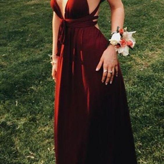 Burgundy Backless Prom Dress,Deep V Neck Prom Dress,Custom Made Evening Dress,17131