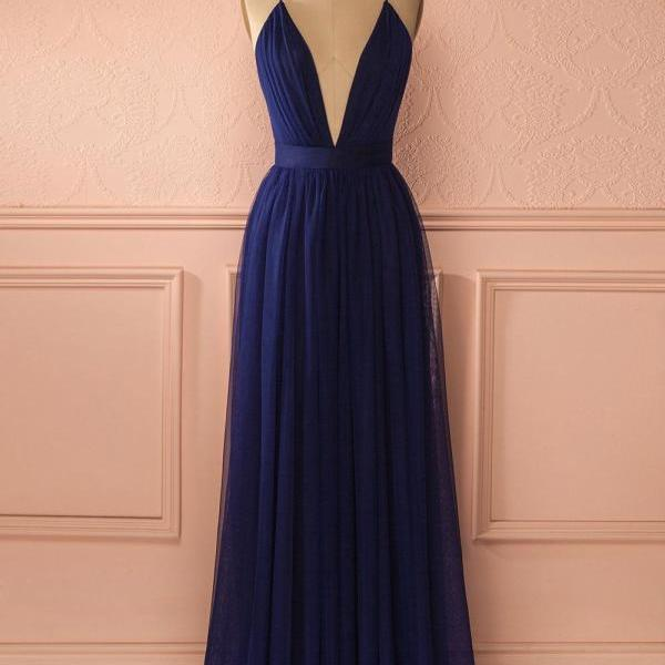 Simple Sexy A-Line Deep V-Neck Navy Blue Long Prom Dress
